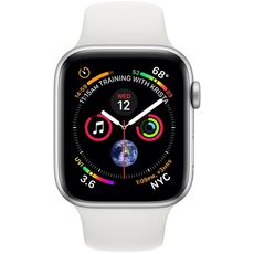 Apple Watch Series 4 GPS 44mm Aluminum Case with Sport Band silver/white