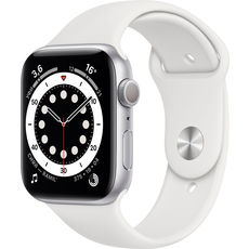 Apple Watch Series 6 GPS 44mm Aluminum Case with Sport Band Silver/White (LL)